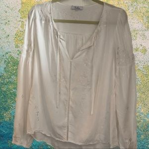 Romantic cottage core long sleeve white blouse S